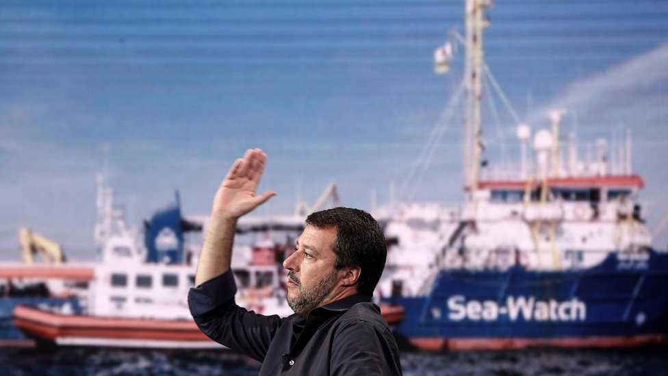 Matteo Salvini discusses the Sea-Watch 3 case on TV - 27 June 2019