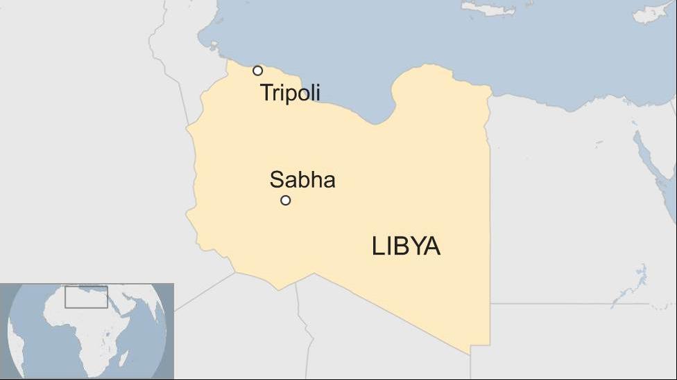 A map of Libya highlighting the cities of Sabha and Tripoli