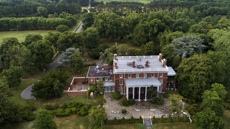A 45-acre Russian diplomatic compound, seized by the US in December 2016 in connection with suspected Russian hacking activities sits abandoned on the banks of the Corsica River near Centreville, Maryland, 10 July 2017