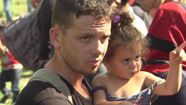 Migrants at the Serbia-Croatia border