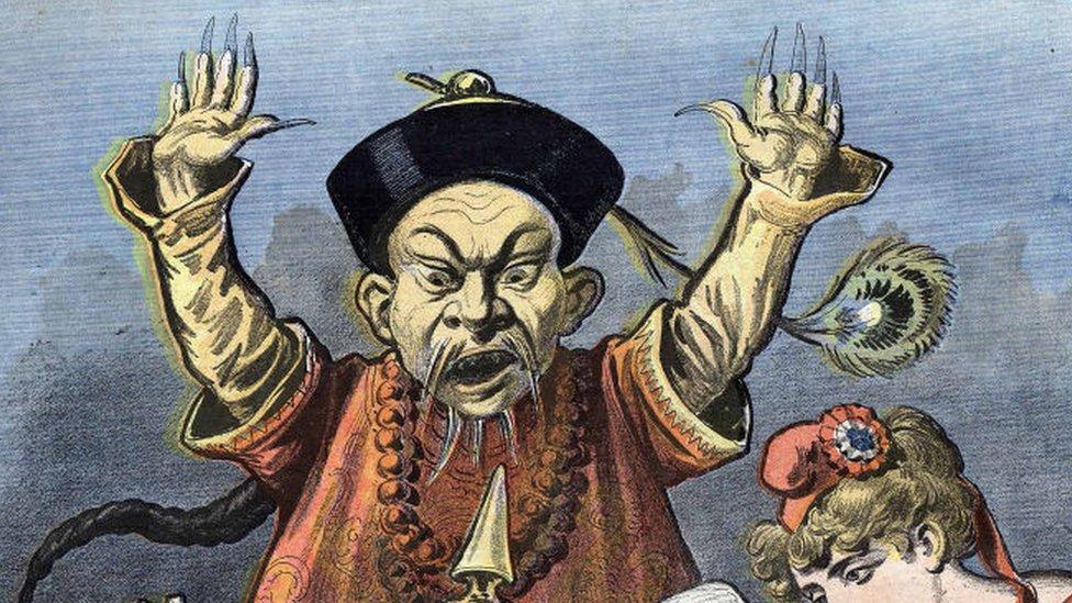 """Caricatura alusiva al """"peligro amarillo""""."""