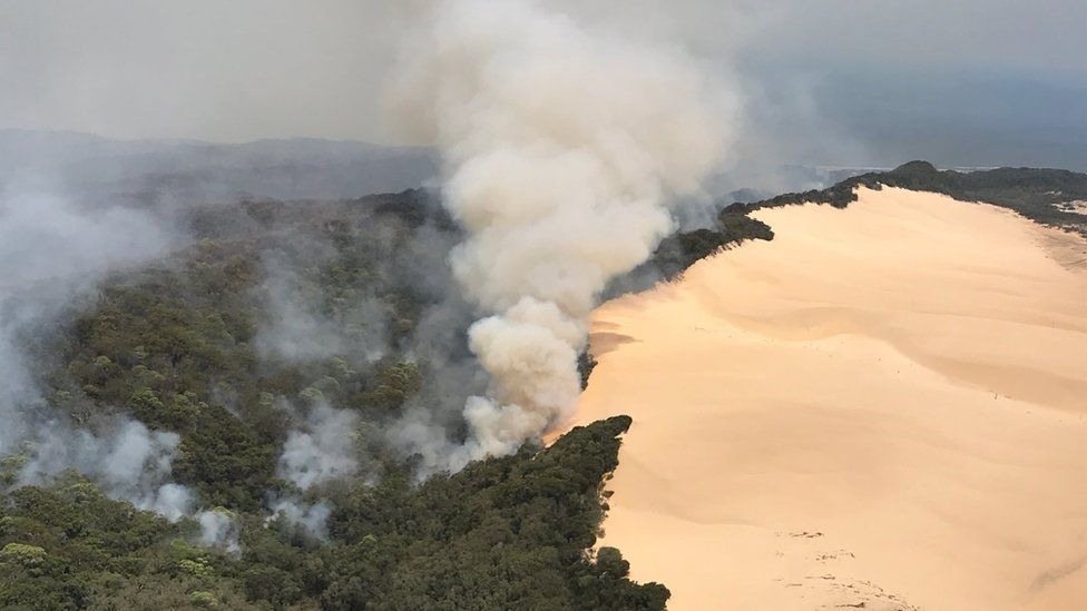 A smoke cloud rises from forest next to sand dunes at Fraser Island during bushfires in early December 2020