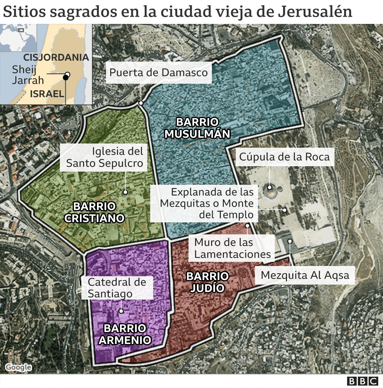 Mapa Ciudad Vieja de Jerusalén