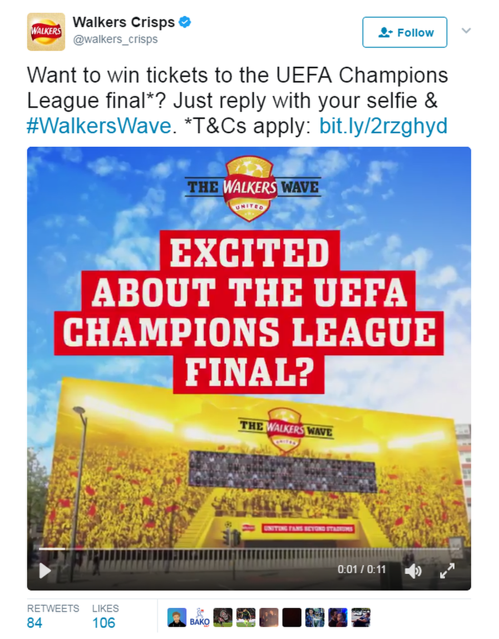 Walkers Crisps' tweet: Excited about the Uefa Champions League Final?