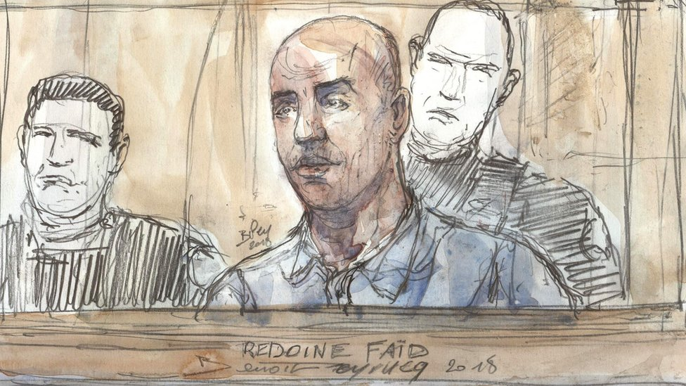 A court sketch showing French armed robber Redoine Faid on 27 February 2018 during his trial at the Assise courthouse in Paris