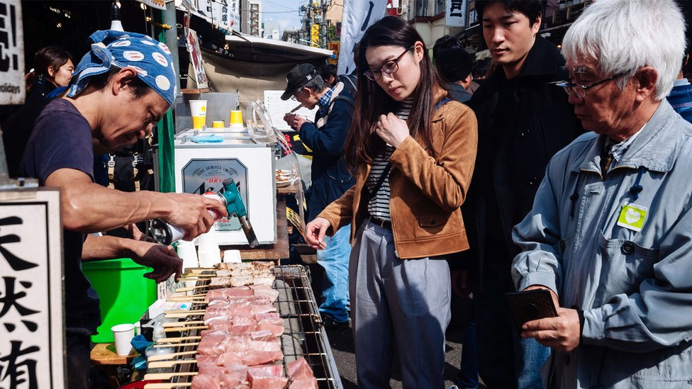 Tuna fish street stall outside Tsukiji