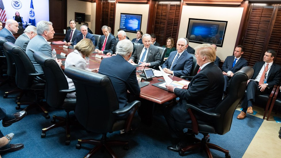 President Donald J. Trump, joined by Vice President Mike Pence, meets with Republican and Democratic congressional leadership Wednesday, Jan. 2, 2019, in the Situation Room of the White House.