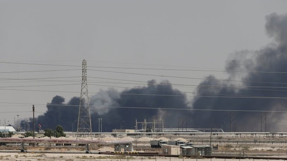 Smoke billowing from the oil facility in Abqaiq, 14 September 2019