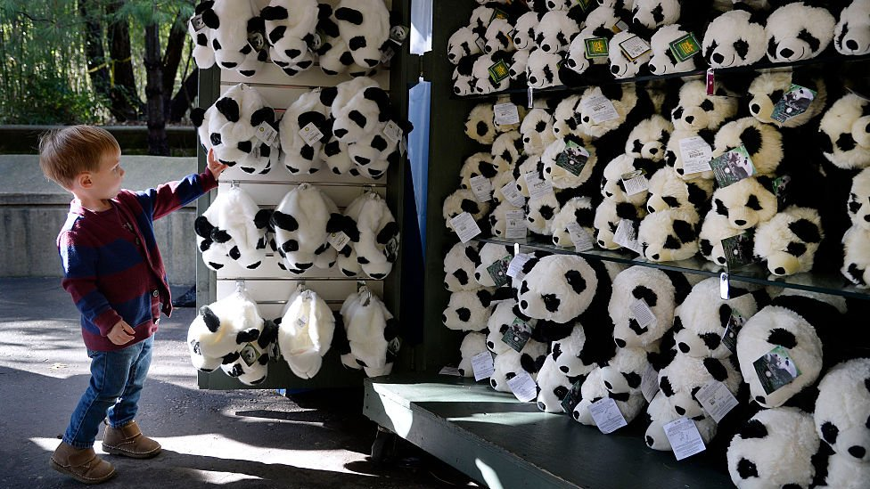 2 years old Watson Grace from Durham, NC chooses one of the Panda hats at a store during Smithsonian's youngest giant panda cub