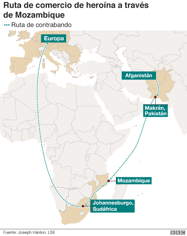 mapa de la ruta de contrabando
