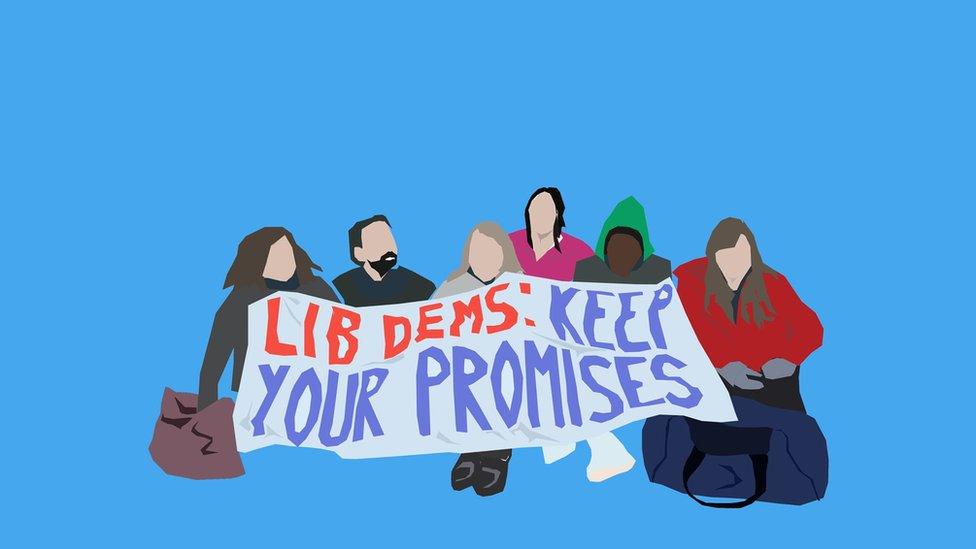 Ilustracija protesta protiv Liberalni demokrata