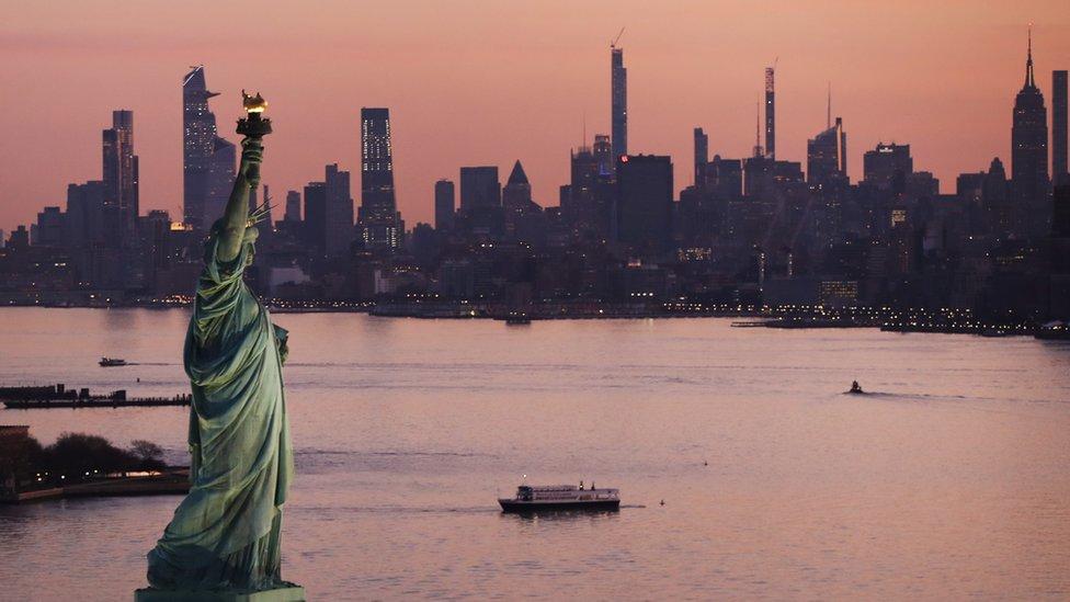 Panoramic view of New York at sunset