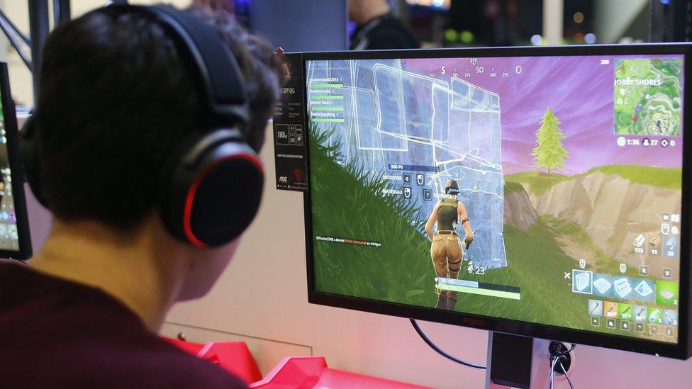 Boy playing Fortnite