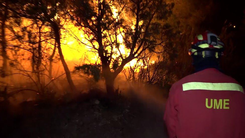 Spanish emergency services battle wildfire in Catalonia - from video released 27 June