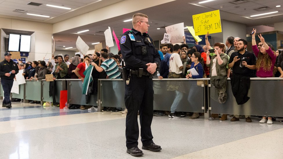 Protesters at Dallas/Fort Worth International Airport