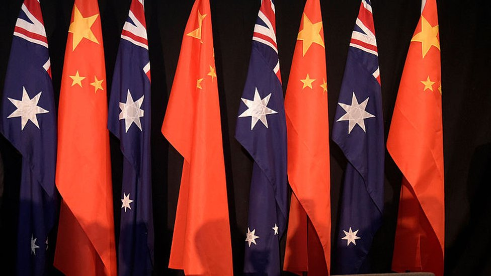 National flags of China and Australia