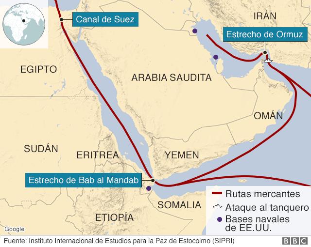 Mapa con las rutas mercantes en el golfo Pérsico.