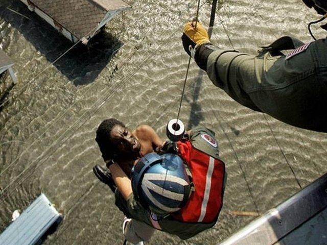 Víctima del huracán Katrina.