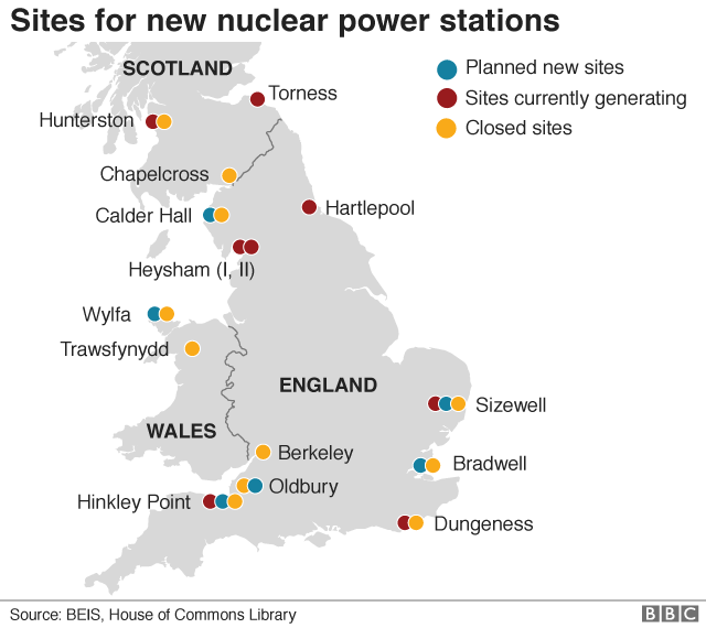 Map of new nuclear power station sites