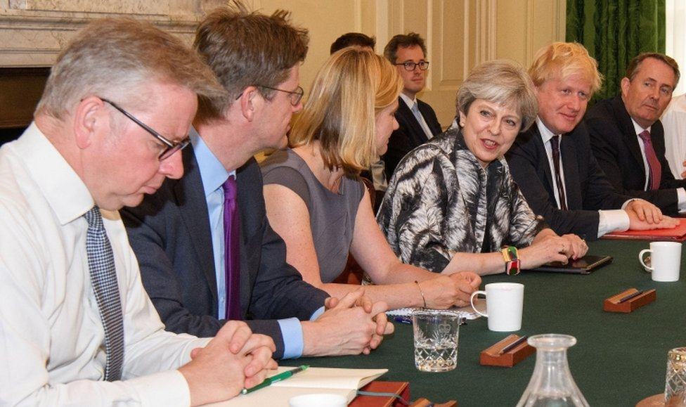 Britain's Prime Minister Theresa May holds the first Cabinet meeting of her new team on 12 June, 2017