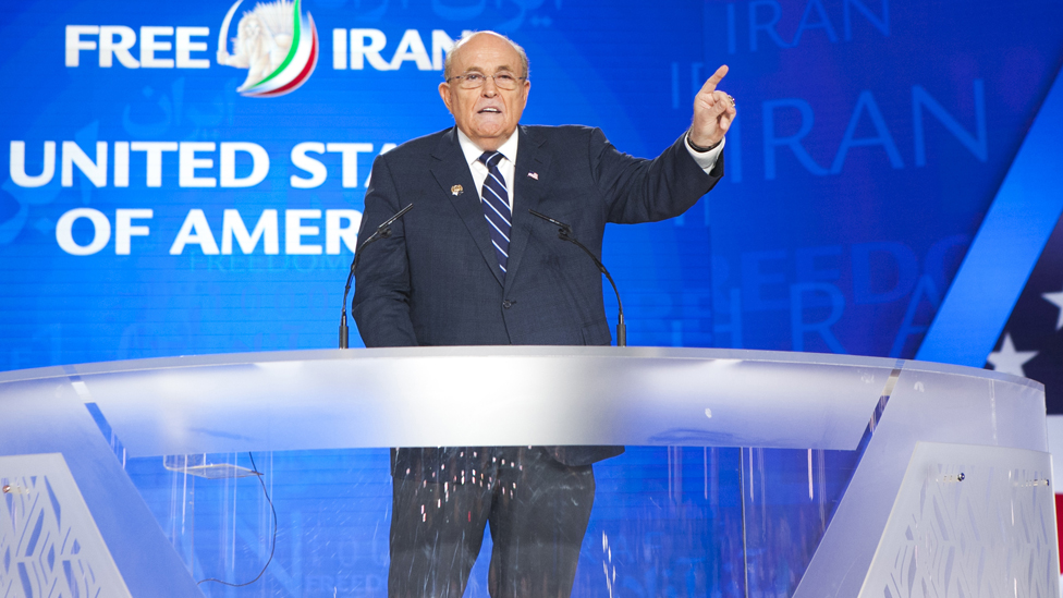 Rudy Giuliani speaking at the MEK's Free Iran gathering