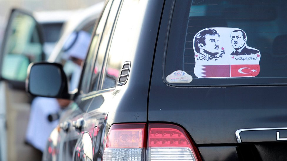Car sticker of the Qatari emir and Turkish president in Doha on 11 June 2017