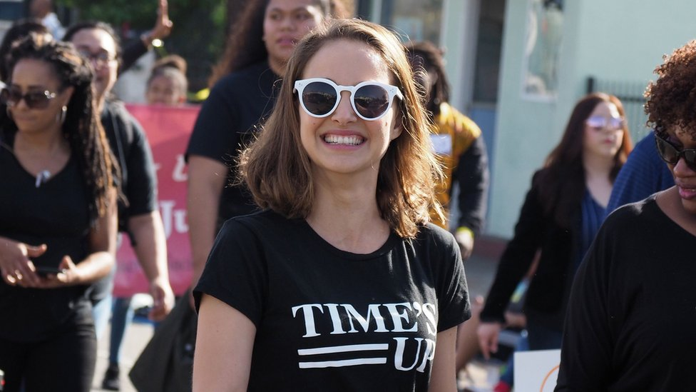 Natalie Portman in a Time's Up t-shirt