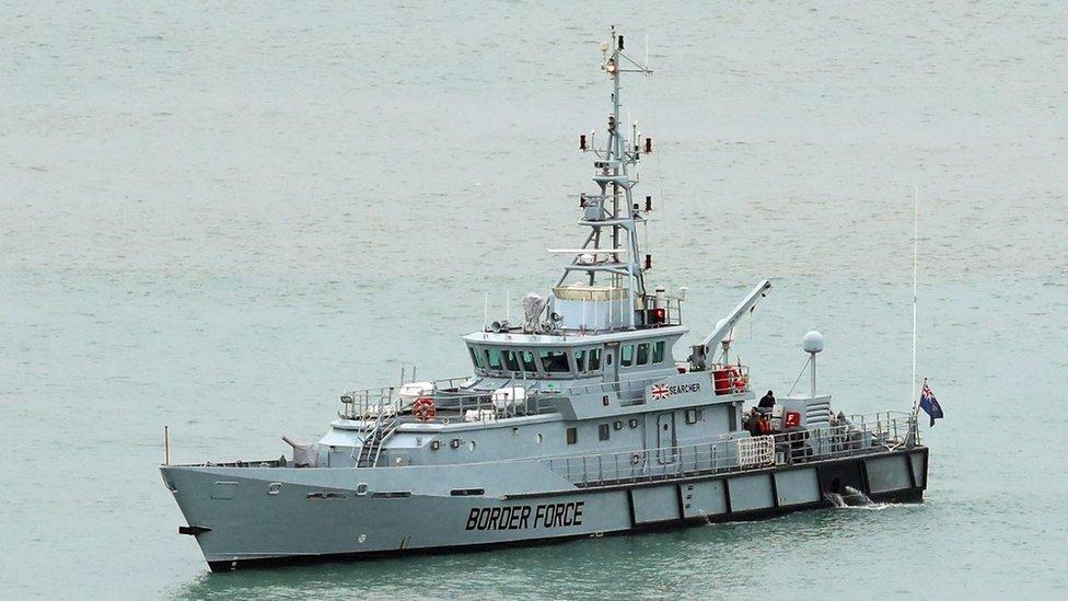 HMC Searcher, one of four cutter ships patrolling UK waters