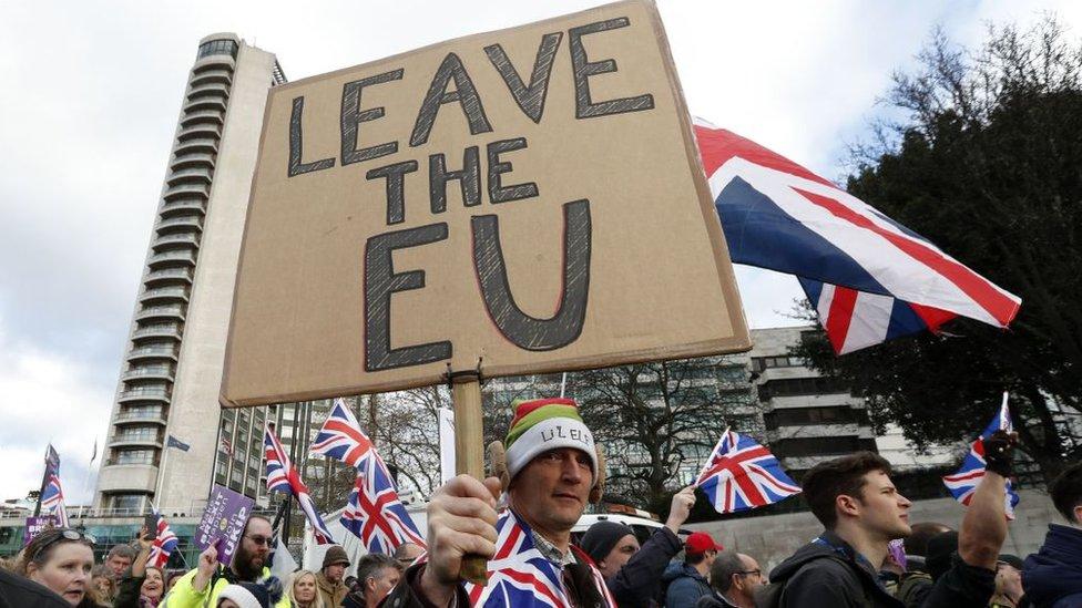 Manifestación en favor del Brexit, la salida de Reino Unido de la Unión Europea.