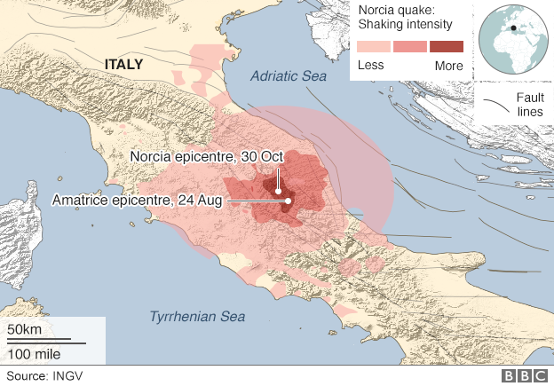 Map showing intensity of shaking during Norcia earthquake, and location of epicentres