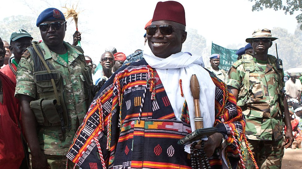Gambia's Yahya Jammeh pictured in 2014 when he was president