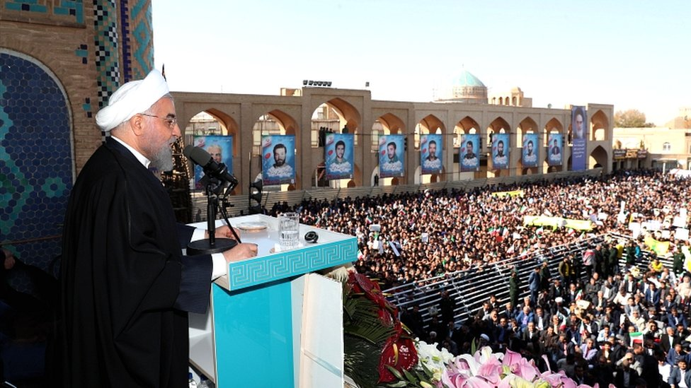 Iranian president Hassan Rouhani speaks at a public gathering in the city of Yazd, south-east Iran, on 10 November 2019