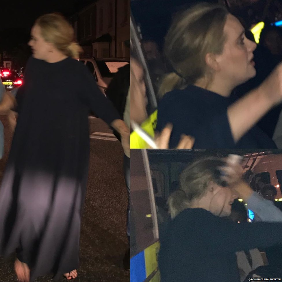 Adele at the scene of the Grenfell Tower fire