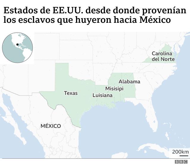 Mapa que muestra los estados de donde provenían los esclavos que cruzaron hasta México a través de Texas.