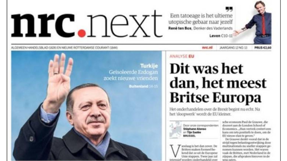 Front cover of Dutch newspaper NRC Next