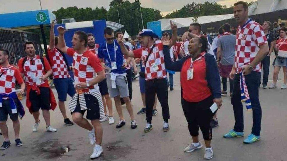 Millicent Omanga with Croatia fans