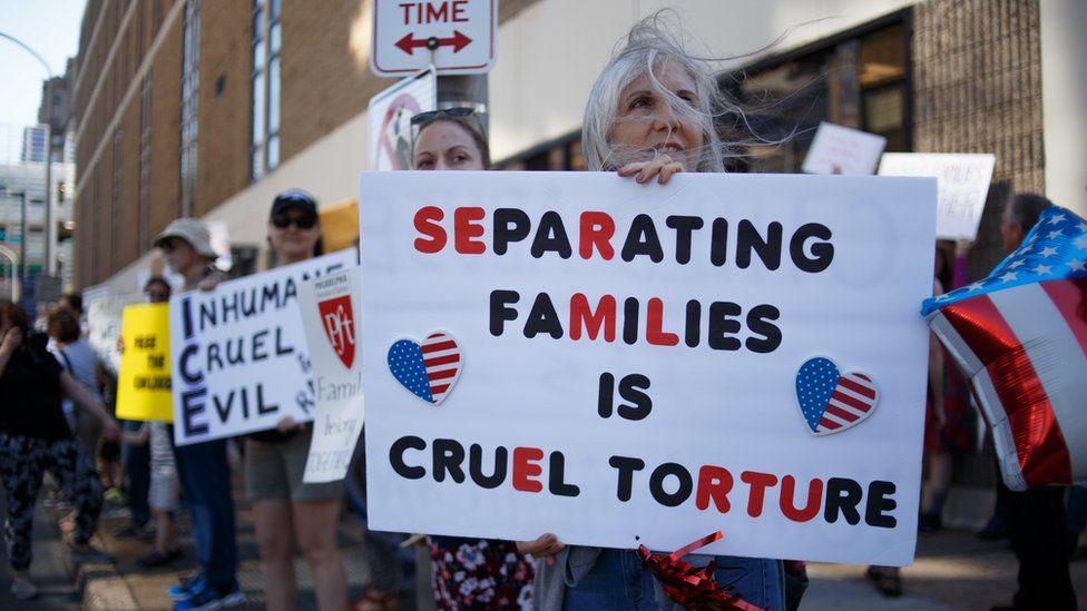 Protesta por la separación de familias de inmigrantes