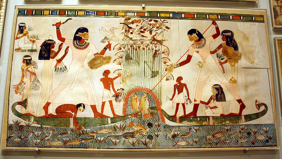 Pinturas egipcias con distintas actividades cooperativas.