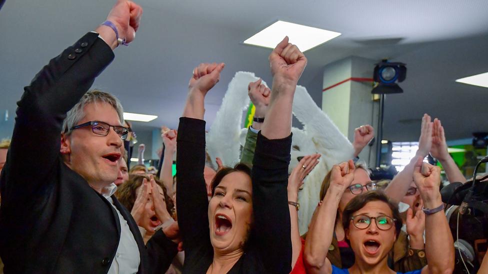German Greens celebrating, 26 May 19