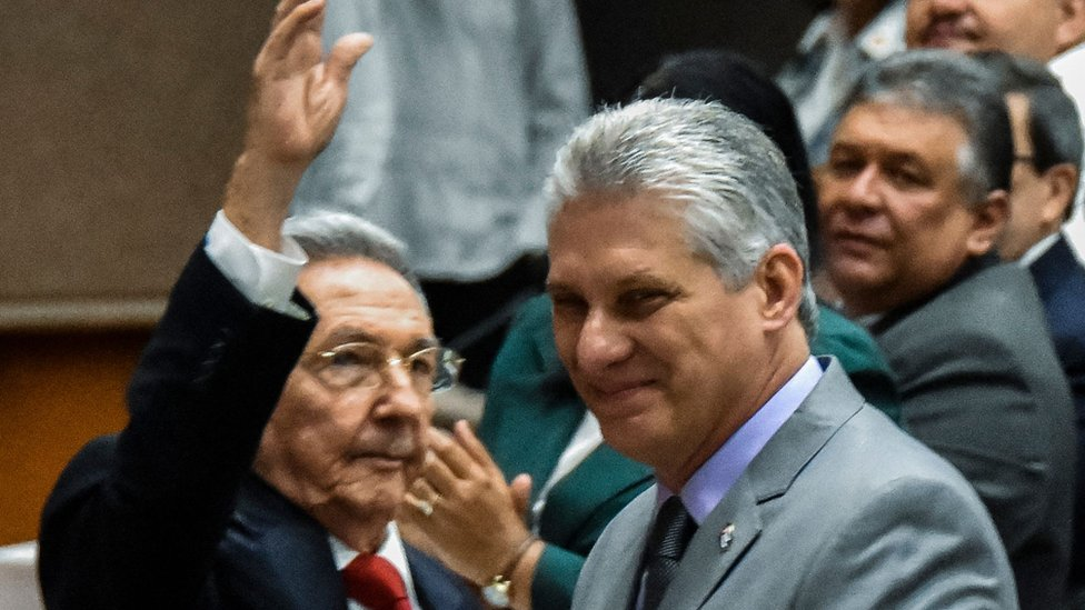 Cuban President Miguel Diaz-Canel, right