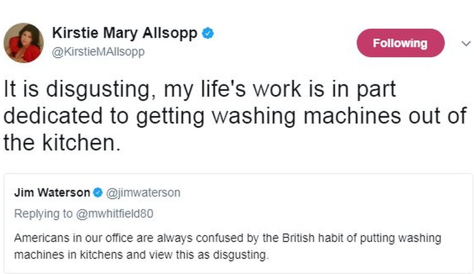 It is disgusting, my life's work is in part dedicated to getting washing machines out of the kitchen.