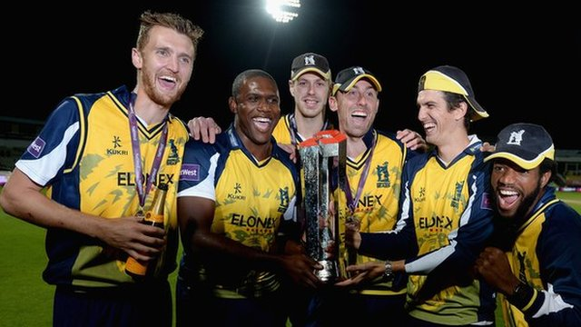 Edgbaston, August 2014 - Birmingham Bears celebrate their first T20 Blast triumph