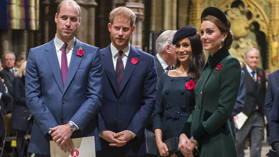 Princes William and Harry and the duchesses of Sussex and Cambridge at the Westminster Abbey service