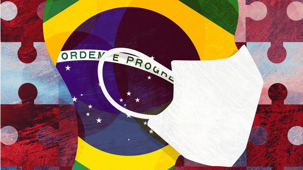 Ilustração de pessoas com máscara e bandeira do Brasil