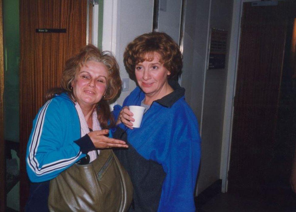 Julie Walters and Victoria Wood offset on Dinnerladies