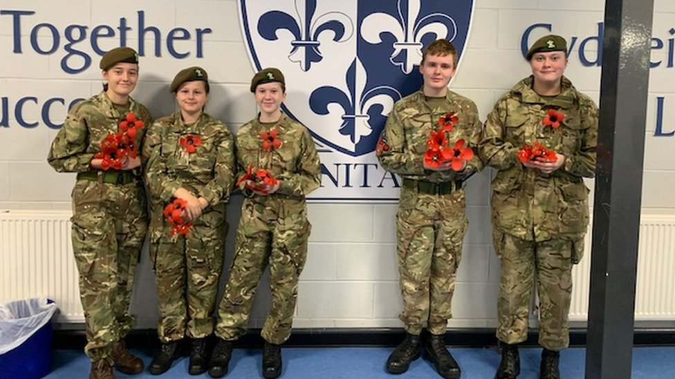 Cadets from Tredegar Comprehensive School who will be taking parting the Remembrance Day Service at St. George's Church 2019