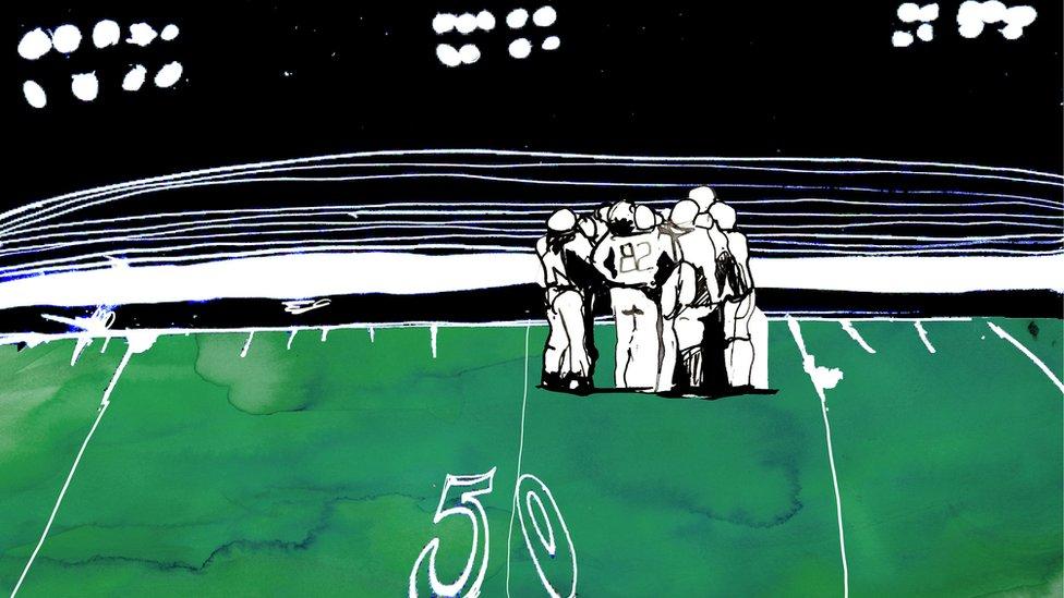 Ilustración de un equipo de fútbol americano.