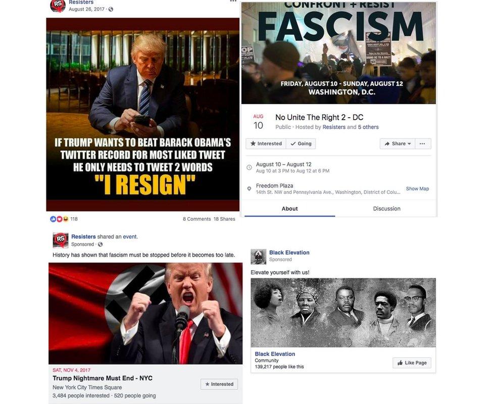 Publicaciones de cuentas falsas de Facebook.
