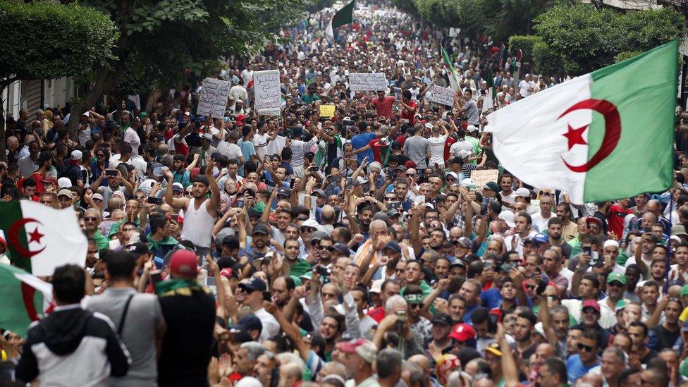 Protesters in Algeria on 20 September