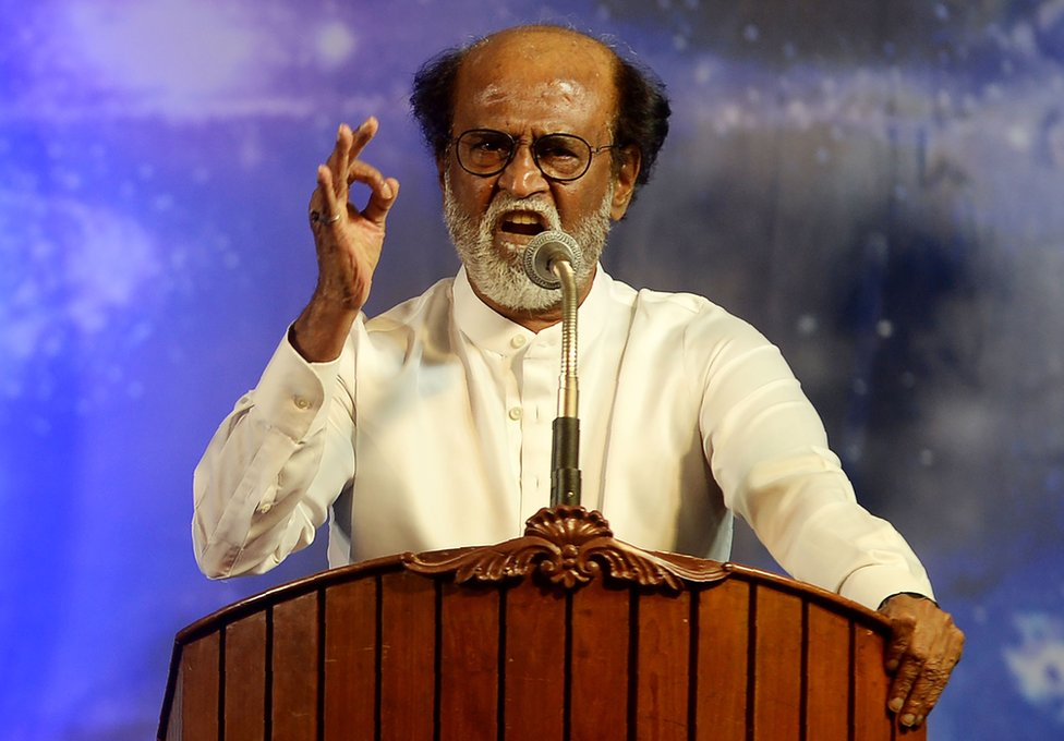 Indian film actor Rajinikanth announces his entry into politics to his many fans in Chennai, 31 December 2017